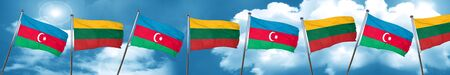 Azerbaijan flag with Lithuania flag, 3D rendering