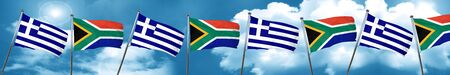 Greece flag with South Africa flag, 3D rendering Stock Photo