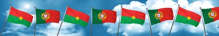 portugese: Burkina Faso flag with Portugal flag, 3D rendering