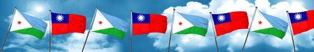 combines: Bandera de Djibouti con la bandera de Taiwán, representación 3D