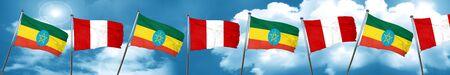 bandera de peru: Bandera de Etiopía con la bandera de Perú, 3D Foto de archivo