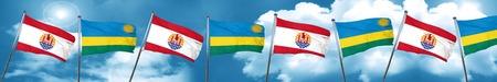 french polynesia flag with rwanda flag, 3D rendering Stock Photo
