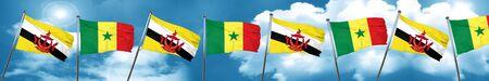 senegal: Brunei flag with Senegal flag, 3D rendering