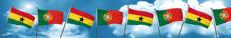 Ghana flag with Portugal flag, 3D rendering
