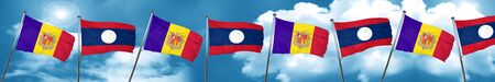 Andorra flag with Laos flag, 3D rendering