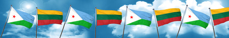 Djibouti flag with Lithuania flag, 3D rendering