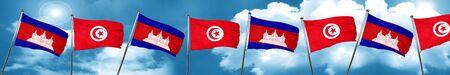 Cambodia flag with Tunisia flag, 3D rendering