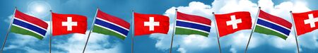 gambia: Gambia flag with Switzerland flag, 3D rendering