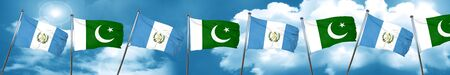 flag of pakistan: guatemala flag with Pakistan flag, 3D rendering