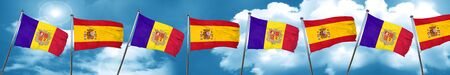 andorra: Andorra flag with Spain flag, 3D rendering Stock Photo