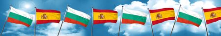 bulgaria flag with Spain flag, 3D rendering Stock Photo