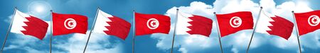Bahrain flag with Tunisia flag, 3D rendering Stock Photo