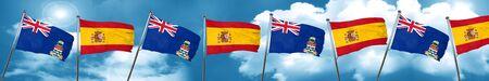 cayman: cayman islands flag with Spain flag, 3D rendering
