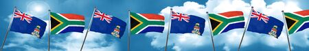 cayman islands flag with South Africa flag, 3D rendering Stock Photo