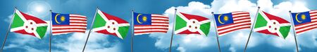 Burundi flag with Malaysia flag, 3D rendering