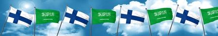 Bandera de Finlandia con la bandera de Arabia Saudita, 3D