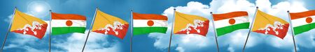 bhutan: Bhutan flag with Niger flag, 3D rendering Stock Photo