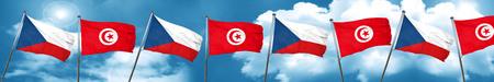 czechoslovakia flag with Tunisia flag, 3D rendering
