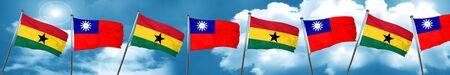 ghanese: Ghana flag with Taiwan flag, 3D rendering