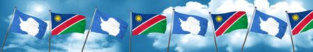 antarctica: antarctica flag with Namibia flag, 3D rendering Stock Photo