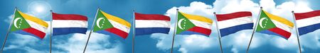 Comoros flag with Netherlands flag, 3D rendering Stock Photo
