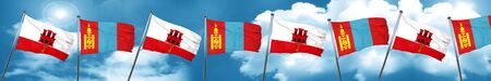 gibraltar flag with Mongolia flag, 3D rendering Stock Photo