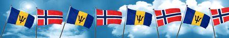 norway flag: Barbados flag with Norway flag, 3D rendering