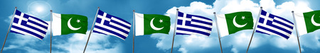 Greece flag with Pakistan flag, 3D rendering