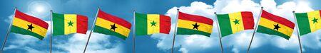 senegal: Ghana flag with Senegal flag, 3D rendering