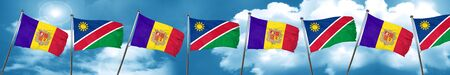 andorra: Andorra flag with Namibia flag, 3D rendering Stock Photo