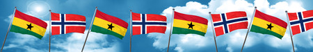 Ghana flag with Norway flag, 3D rendering Stock Photo