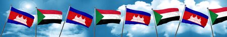Cambodia flag with Sudan flag, 3D rendering Stock Photo