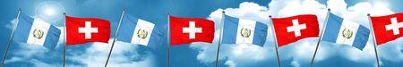 guatemalan: guatemala flag with Switzerland flag, 3D rendering