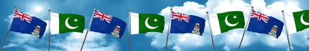 flag of pakistan: cayman islands flag with Pakistan flag, 3D rendering