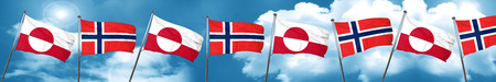 greenland flag with Norway flag, 3D rendering Stock Photo