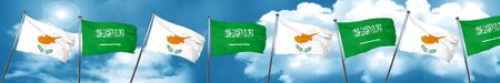 Cyprus flag with Saudi Arabia flag, 3D rendering