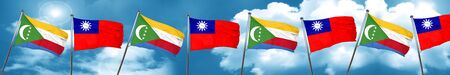 Comoros flag with Taiwan flag, 3D rendering Stock Photo