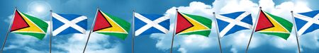 Guyana flag with Scotland flag, 3D rendering