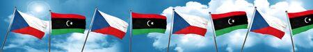 combines: czechoslovakia flag with Libya flag, 3D rendering