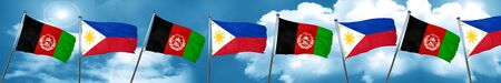 Afghanistan flag with Philippines flag, 3D rendering