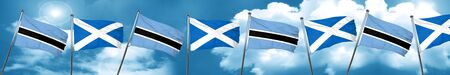 Botswana flag with Scotland flag, 3D rendering Archivio Fotografico