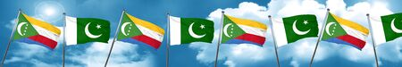 Comoros flag with Pakistan flag, 3D rendering Stock Photo