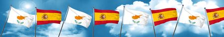 Cyprus flag with Spain flag, 3D rendering Stock Photo