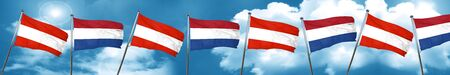 Austria flag with Netherlands flag, 3D rendering Stock Photo