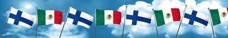 combines: Bandera de Finlandia con la bandera de México, 3D