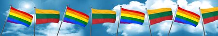 Gay pride flag with Lithuania flag, 3D rendering