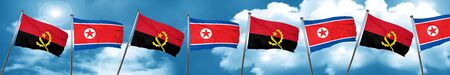 Angola flag with North Korea flag, 3D rendering Stock Photo