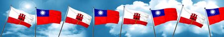 gibraltar flag with Taiwan flag, 3D rendering