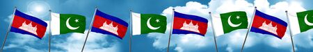 Cambodia flag with Pakistan flag, 3D rendering