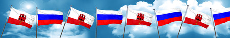 gibraltar: gibraltar flag with Russia flag, 3D rendering Stock Photo